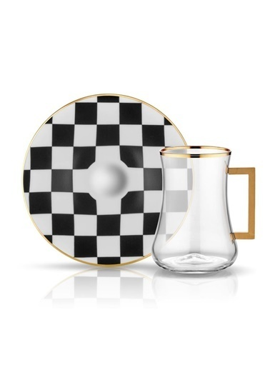 Koleksiyon Dervısh Damalı Siyah-Beyaz 6'Lı Kulplu Çay Seti Siyah